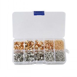 Wholesale kit for extension - Jewelry Findings Kit Iron Fold Over Cord Ends Lobster Claw Clasps Jump Rings Extension Chains For Jewelry Making D842L