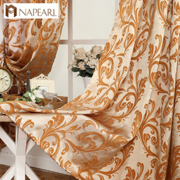 Wholesale luxury curtains - NAPEARL orange color popular design ready made curtain luxury european style bedroom window treatments elegant living room curtain