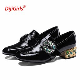 Wholesale Flat Leather String - Luxury brand crystal shoes women loafers genuine leather oxfords shoes string bead square heel women flat zapatos mujer