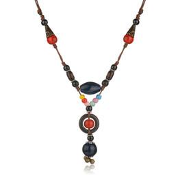 glockenperlen Rabatt Bohemian Ethnische Stickerei Halskette Big Round Perlen Stein Choker Lange Kette Aussage Halskette Glocke Indischen Schmuck Für Frauen
