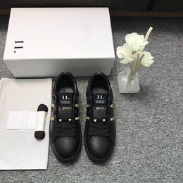 Wholesale Black Vogue - luxury brand hot sale BEST QUALITY! colors genuine leather unisex sneakers shoes luxury designer v vogue runway black