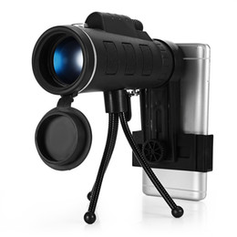 Wholesale zoom scope - 40X60 Monocular Telescope Night Vision Zoom Scope with Compass Phone Clip Tripod for Mobile Phone Camera