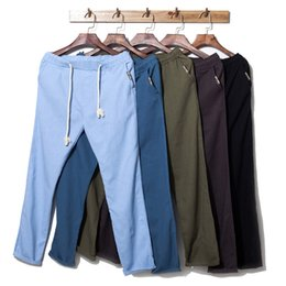 стильный дизайн брюк Скидка Бренд Мужские брюки 2018 мода дизайн бежевый серый белье свободные брюки повседневная стильный прямые длинные Pantalon Homme 5XL