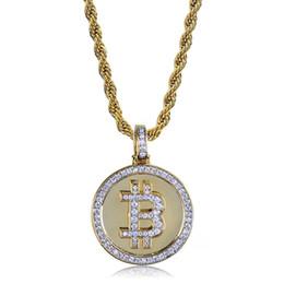 Canada Vente chaude Hiphop Plaqué Or Bitcoin Collier Pendentif Pavé Micro Cubique Zircone Colliers Avec Corde Chian Bling Rappeur Bijoux Offre