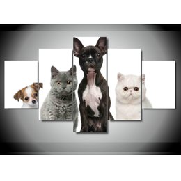Wholesale Dog Pictures - Canvas Paintings Living Room Wall Art HD Prints 5 Pieces Lovely Puppy Cats And Dogs Poster Home Decor Animals Pictures Framework
