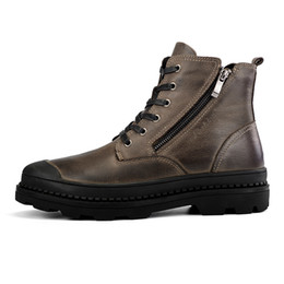 Wholesale Winter Boots For Work - Big Size 38-47 Genuine Leather Winter Boots Shoes Men, Warm Furry Boots Men, Fashion Ankle Snow Boots For Men D30