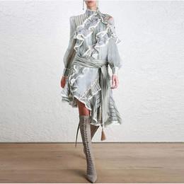 Wholesale empire luxury - Brand Designer Luxury Panelled Women Dresses 2018 Summer Fashion Style Runway Stand Collar Long Sleeve Ruffles Stripe Irregular Dresses