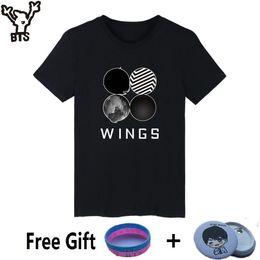 Wholesale Funny Korean T Shirts - BTS Short Sleeve White Tshirt Women Korean Popular Bangtan Hip Hop Wings Tee Shirt Women Cotton Summer Casual Kpop Funny T-shirt