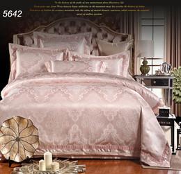 Wholesale Satin Bedspread Sets - Light jade color tribute silk king queen bedspread set satin 6pcs 4pcs jacquard bedding sets comforter cover bed sheet 5642