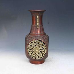 2019 chinesisch geschnitzte vase Chinesische lila Bronze Hand geschnitzt Dragon Phoenix Vase w der Qing-Dynastie Mark günstig chinesisch geschnitzte vase