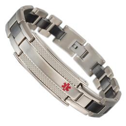 2019 alarm armbänder Medical alert Armbänder für Männer Black Ceramic Magnetic Stainless Steel günstig alarm armbänder