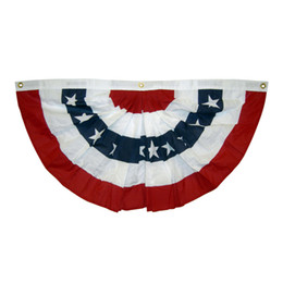 Wholesale flag stars - free shipping 1.5x3 ft printed stripes stars USA Pleated Fan bunting Half Fan Banner flag for july 4th independence day decoration