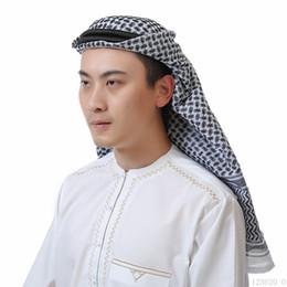 Algodón Hijab Sombreros de tela escocesa para hombre Musulmanes largos Rojo Negro Blanco Sombreros de oración Sombrero de cabeza envuelta Cabeza Arabia Saudita Dubai UAE Turbante 135 * 135cm desde fabricantes