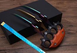 Grandi coltelli da tasca online-Coltello di legno all'ingrosso maniglia grande grande artiglio coltello tactica karambit Caccia tasca regalo coltello Spedizione gratuita