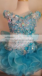 Wholesale Cute Crystal Ball - 2018 Cute Girl's Glitz Pageant Dresses Ball Gown Lace Flower Girl Dresses Hand Made Flowers Beads Crystals Tiers Toddler Pageant Dresses