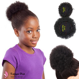 Wholesale Black Women Afro - Afro Curl Drawstring Ponytail Puff Synthetic Chignon Plastic Combs Updo JUMBO KINKY CURLY AFRO PUFF for black women USA kids afro hair