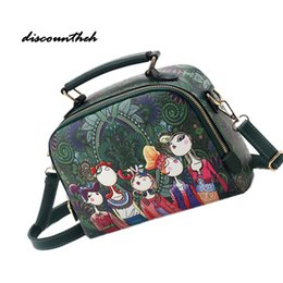 f41be7be14 2017 PU Leather Boho Shoulder Bag Handbags Forest Pattern Messenger Bag  Cartoon Handbag Bat