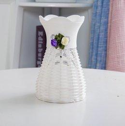 vases en bois Promotion 5pcs blanc vase de stockage vases vase panier de fleurs de rotin pour la décoration de bureau de jardin de maisons de mariage