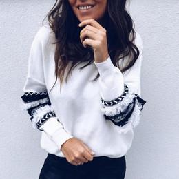 Moda rayas borla remiendo sudaderas con capucha de la vendimia de las mujeres otoño de manga larga suelta sudadera femenina o cuello tops casuales desde fabricantes