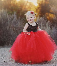 Wholesale Girl Dreses - Red and Black Flower Girls Dreses 2018 Square Ball Gown Long Said Mhamad First Communion Girl Pageant Gowns Baby Kids Party