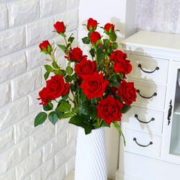 2019 вазы для стола Один стебель искусственная Роза фланель цветок поддельные розы расположение таблицы главная партия декор Валентина подарок цветок для вазы DIY свадебный букет дешево вазы для стола
