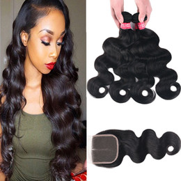Wholesale Mix Deals - 8A Remy Brazilian Body Wave Straight Deep Wave Kinky Curly Deep Wave Human Hair 3 Bundles Deal With 4*4 Lace Closure Natural Color Remy Hair