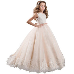 Wholesale Girls First Communion Gown - Fashion Champagne Lace Pageant Dresses For Girls Glitz Bow Sash Vestidos De Primera 2018 Flower Girl Dresses First Comunion Kids Formal Wear