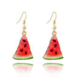 Wholesale Korean Handmade Earrings - 2018 New Fashion Fruits Drop Earrings Handmade Fimo Polymer Clay Watermelon Dangle Korean Style Cute Cartoon Watermelon Earrings