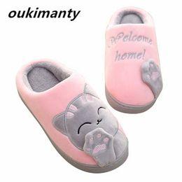 Wholesale Grey Bedroom - Plush Women Winter Home Slippers Cartoon Cat Home Shoes Bedroom Flat Warm Slippers Indoor Loves Couple Floor Shoes #Y0634083Y