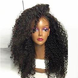 le più belle parrucche Sconti Parrucche afroamericane calde fredde Parrucche sintetiche ricci crespi afroamericane nere lunghe di 180% Parrucche sintetiche resistenti al calore del pizzo di Gluelese per le donne nere