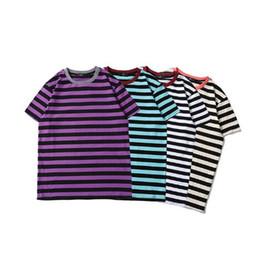 Wholesale mix t shirts - Mix Colour Striped Basic Women Men T shirts tee Hiphop Streetwear Justin Bieber Men Cotton T shirts tee 2018