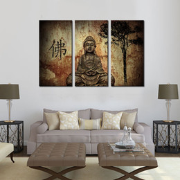 Wholesale Chinese Paintings For Decoration - 3 Picture Chinese Buddha Canvas Paintings Wall Art Stone Statue Buddha Picture Printed On Canvas For Temple Home Wall Decoration Unframed
