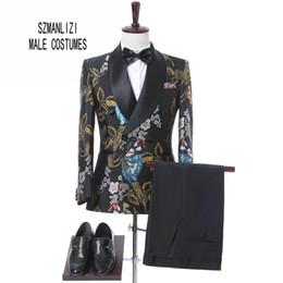 Wholesale Elegant Men Tuxedo - 2017 New Elegant Brand Wedding Mens Suit Flower Double Breasted Suit For Men Slim Fit Groom Tuxedo Blazer Costume Homme Mariage