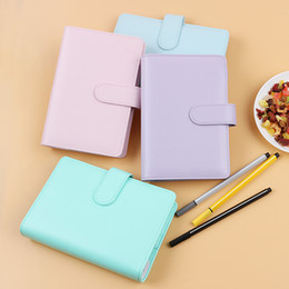 Wholesale school notebook a5 - New 1pc A5 A6 Leather Spiral Cover Of Notebook Cute Planner Accessory Loose Leaf Binder Shell Office School Reused Cover