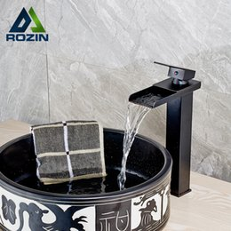 Wholesale Vessel Waterfall Faucets - Deck Mounted Luxury Waterfall Square Bathroom Vessel Sink Faucet Single Lever Brass Black Wash Basin Mixer Taps