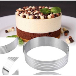cake layer cutter Promo Codes - Free shipping Wholesales Adjustable Round Stainless Steel Cake Ring Mold Layer Slicer Cutter DIY