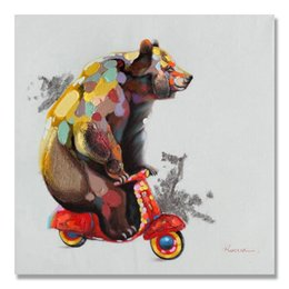 Wholesale Hotels Bear - Pure hand-painted multi - talent bear bike painting hotel living room high - end decoration painting home office