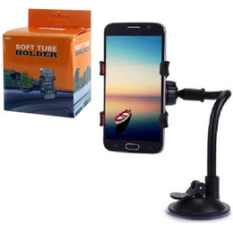 Wholesale Double Clamp - Universal Car Phone Mount Long Arm Clamp with Double Clip Strong Suction Cup Cell Phone Holder for iPhone 8 X 7 Samsung S8