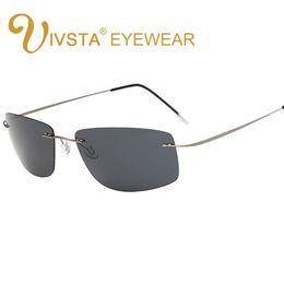 Nuevos anteojos de visión nocturna online-IVSTA New 2018 The Matrix Style Polarized Driving Men Gafas de sol Titanium Memory Frame Sin montura Gafas de sol Espejo Lentes Visión nocturna