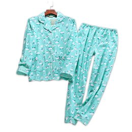 Pijamas mujer online-Korea Cute cartoon 100% baumwolle pyjamas frauen pyjamas sets herbst 100% baumwolle winter warme frauen nachtwäsche pijamas mujer S1015
