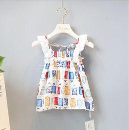 Wholesale Kids Novelty Pencils - new dress 2018 INS hot styles New summer girl kids cute cartoon pencil Printing cotton Dress kids elegant lace sling dress
