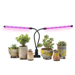 Wholesale timing lamp - 18W Dual Head Timing Grow Lamp, 36 LED Chips with Red Blue Spectrum for Indoor Plants, Adjustable Gooseneck, 3 9 12H Timer 10 Dimmable Level