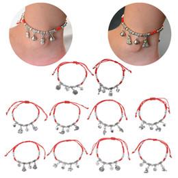 Cavigliere a braccio online-Braccialetti Moda gioielli Lucky Red String Ancient Sier Evil Protection Jingle Bell Anklets Braccialetti Drop Shipping