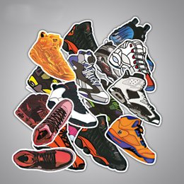 Wholesale Europe Laptops - 100 Stickers sport shoes design trainers runner basketball adhesive DIY motorcycle, laptop, car, snowboard, skateboard.