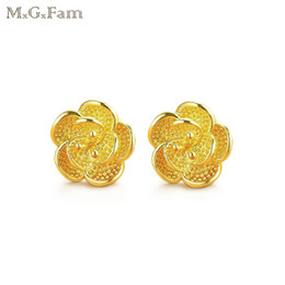 Wholesale 24k Gold Stud Earrings - MGFam (457E) Flowers Stud Earrings for Women 24k Gold Plated Bridal Jewelry Classic Style Drop Shipping Fashion Jewelry