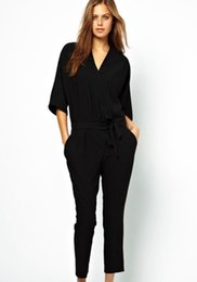 12bd5d9f95 Discount half sleeves jumpsuit - 2018 Solid Front Self Tie Jumpsuits for  Women Workwear Elegant Ladies