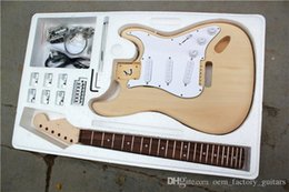 Wholesale diy guitar body - DIY Stratocaster Electric Guitar kit with Basswood Body Rosewood Maple fretboard ST Model with Chrome hardware Offer Customized
