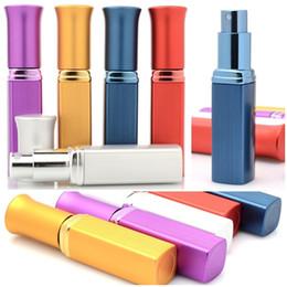 Aluminum sprayer online-Nueva botella de perfume de aluminio portátil de la moda del estilo nuevo 6ML con el atomizador Mini botella de perfume de viaje recargable de la botella de perfume vacío del recorrido