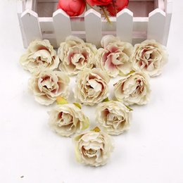 Wholesale Orange Processing - 10pcs lot high quality artificial peony flower silk rose wedding decoration DIY wreath gift cut and paste process fake flowers