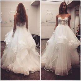 Wholesale Strapless Puffy Wedding Dresses - Sexy Lace Appliqued Ball Gown Puffy Wedding Dresses Swetheart Empire Waist Layers Puffy Skirt Black Girl Bridal Gowns Vestidos De Noiva